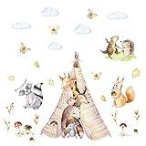 121 adhesivos de pared con diseño de amigos en el tipi, tienda de campaña, oso, jirafa, erizo, acuarela, en 6 tamaños, para habitación de niños, niños, niñas, bebés, tamaño 1500 x 840 mm