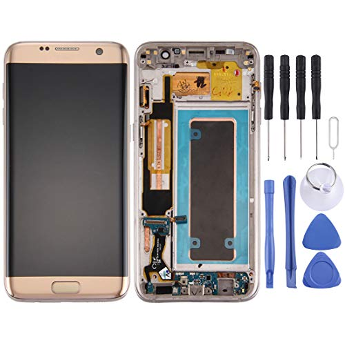 ZHOUYOUCHENGLCD Compatibel met voor Galaxy LCD SAMSUNG voor Galaxy S7 Edge / G935A Nieuw LCD-scherm en Digitizer Volledige montage met frame en opladen Port Board & Volume Button & Power Button (Zwart), Goud