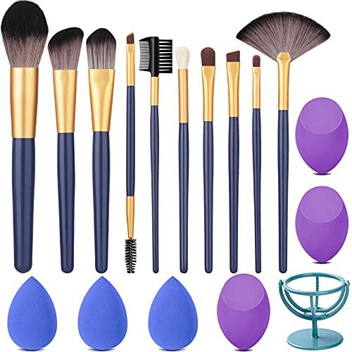 Lunasea Makeup Brushes Set,Premium Synthetic Foundation Face Powder Blush Concealers Eyeshadow Brushes Makeup Brush Kit with Blender Sponge and Sponge Holder (10+6pcs, Blue)