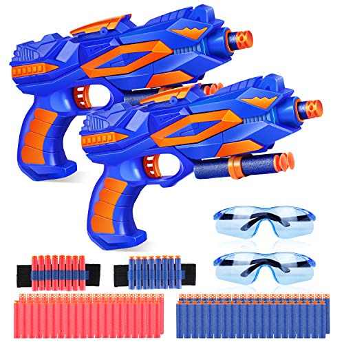 Duckura Toy Guns for Kids, Blaster Gun 2 Pack with 2 Kids Safety Goggles, 80 Foam Refill Compatible with Nerf Fortnite, Birthday Gifts Party Favor Supplies for 5 6 7 8 9 Year Old Boys Girls
