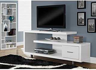 """Monarch Specialties White with 1 Drawer TV Stand, 60"""""""