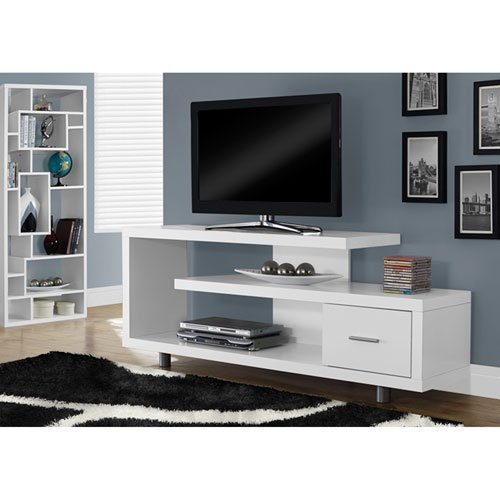 Monarch Specialties TV Stand with 1 Drawer 60quotW White