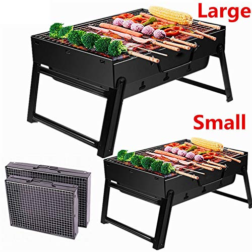 Huishoudelijke draagbare houtskoolgrill Opvouwbare barbecue Barbecue Carbon Oven voor buiten koken Camping Picnic Patio Backyard Cooking Zwart,Large