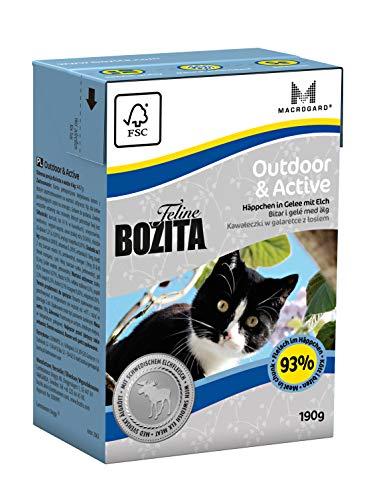BOZITA Häppchen in Gelee Nassfutter Outdoor&Active - 16 x 190 g - nachhaltig produziertes Katzenfutter für erwachsene aktive Katzen mit Ausgang - Alleinfuttermittel