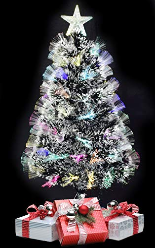 TruWare Weihnachtsbaum Glasfaser Farbwechsler mit Schneespitzen inkl. Metallständer | Tannenbaum 45 bis 180cm (45 cm)