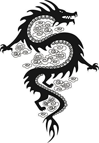 Cool Simple Asian Dragon Black and White Shadow Silhouette Cartoon Vinyl Sticker (4' Tall, Dragon #1)