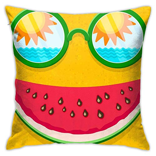 Throw Pillow Case Sunglasses with Reflection of Sun and Sea Waves and Watermelon Smile in Sand Pillow Cushion Case