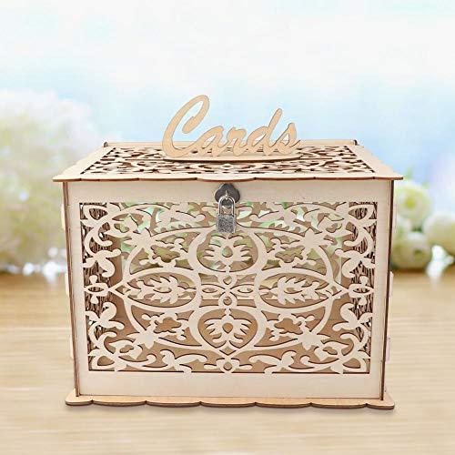Aerwo DIY wedding card box con serratura rustico in legno della scatola di carta regalo fai da te salvadanaio perfetto per matrimoni, docce bambino, compleanni, lauree Hold Up 225carte