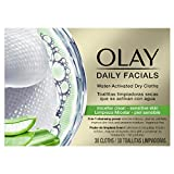 Olay Daily Facials 5-in-1 Water Activated Dry Cloths - Micellar Clean for Sensitive Skin with Aloe Vera Leaf Extract - Pack of 6