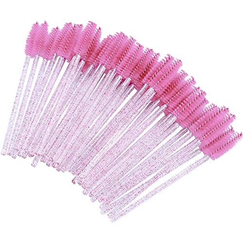 300 Stück Rosa Kristall Wimpernbürstchen, Wimpern Kämme & Brauen Bürstchen, Mascara Augen Make Up Tools