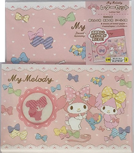 Sanrio Letter Set 10 Writing Paper + 5 Envelopes (with transparent window) + 4 Stickers Stationary Japan (My Melody Ribbon)