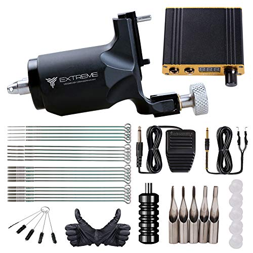 Extreme Rotary Tattoo Machine Kit Power Supply Complete Tattoo Kits Foot Pedal Grip