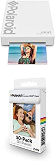 $104 » Polaroid Mint Pocket Printer - White with Polaroid 2x3ʺ Premium Zink Zero Photo Paper 50-Pack