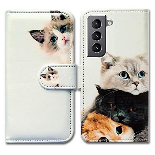 Galaxy S21 5G Case,Bcov Cute Brown Cat Leather Flip Phone Case Wallet Cover with Card Slot Holder Kickstand for Samsung Galaxy S21 5G
