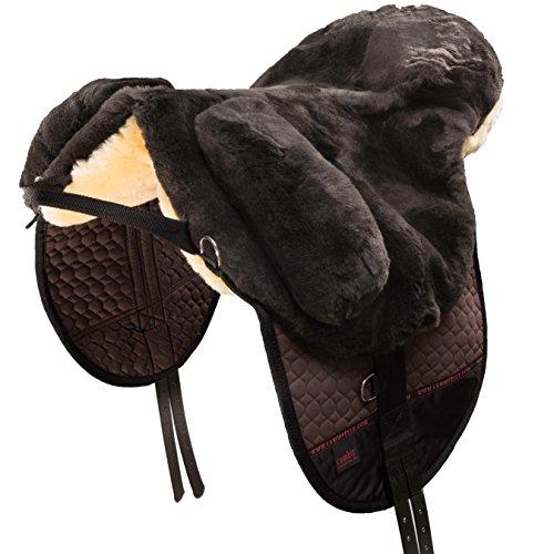 CHRIST Fellsattel Premium Plus hochwertiger, baumloser Lammfellsattel in Handarbeit gefertigt, Bare-Back-pad, Pferde-Sattel aus echtem Lammfell in braun, Gr. Pony