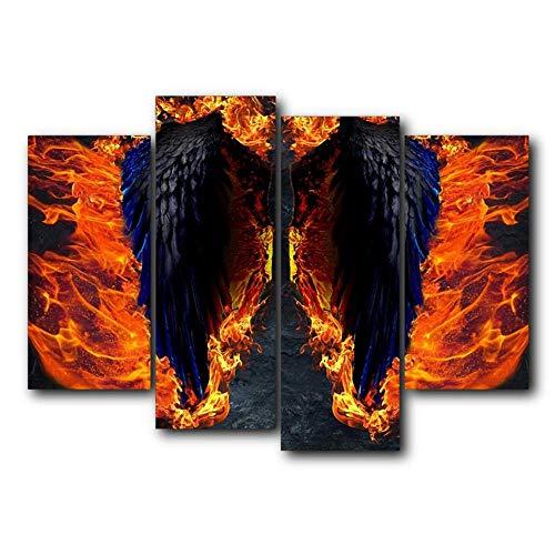 Non-branded Leinwand Malerei 4 Panel Feuer Schwarz Winkel Flügel Wandkunst Poster und Drucke Nordic Home Wohnzimmer Dekor40x80 40x100cmx2 ohne Rahmen