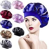 Duufin 8 Pièces Bonnet Satin Cheveux Nuit Chapeau Nuit en Satin pour Femme, 8 Couleurs