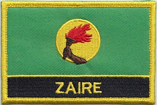 Zaire 1971 bis 1997 Flagge Aufbügler Patch, gestickt, zum Aufnähen oder Aufbügeln, exklusives Design von 1000 Flaggen