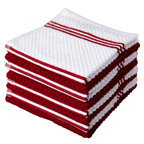 Sticky Toffee Cotton Terry Kitchen Dishcloth Towels, 8 Pack, 12 in x 12 in, Red Stripe