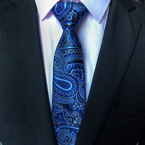 DIAOKUD Cravates Homme,Cravate Masculine Bleue De Mode De Fil Imprimé De Polyester De Fleur De Cajou Bleue De 8Cm, Memory Shaping Pas Facile À Froisser, pour des Affaires, Fête De Mariage, Datant