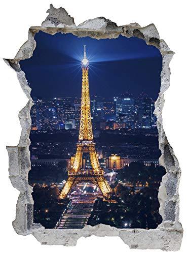 Paris Eiffelturm Nacht Wandtattoo Wandsticker Wandaufkleber E0266 Größe 46 cm x 62 cm