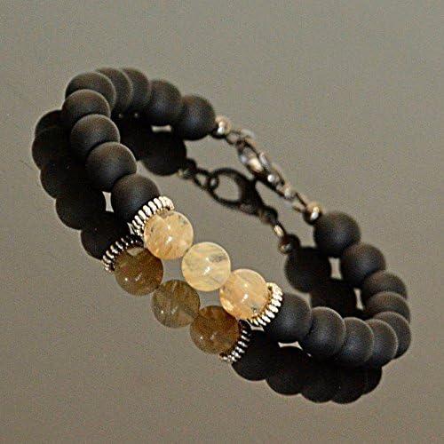 November Birthstone Beaded Bracelet for Men Yoga Gemstone Black Onyx Citrine Men s Jewelry product image