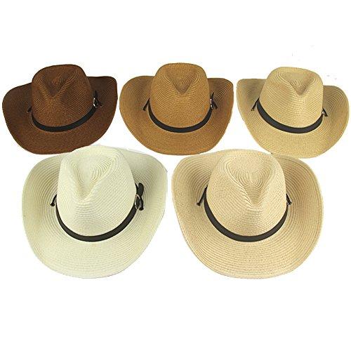 Yosang Adult Straw Cowboy Hat Wide-Brimmed Woven Summer Sun Hat Light Beige