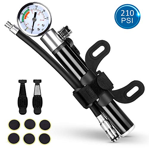 nonbrand Mini Bike Pump with Gauge, 210psi Presta and Schrader Valve for Mountain Bike, Ball, Inflatable Toy - Including Puncture Tire Repair Kit
