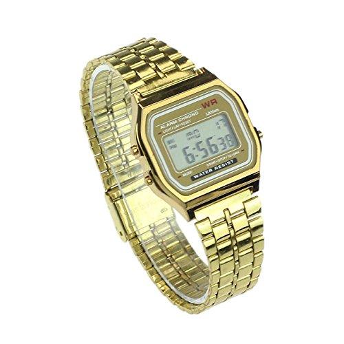 Vintage Mujer Hombres Acero Inoxidable Alarma Digital cronómetro Reloj de Pulsera (Oro)