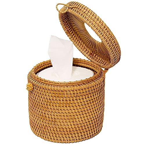 Klauss Ratán Tapa Caja Tissue, Hecho a Mano Tejido Caja de Pañuelos Madera Papel para la decoración del baño Encimeras de tocador Aparadores de Dormitorio Mesas de Noche Escritorios Mesas 1