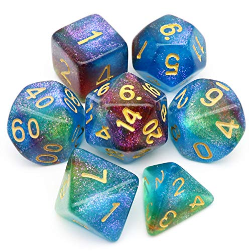 Haxtec Iridescent Glitter DND Dice Blue Green Purple Color Changing Polyhedral D&D Dice for RPGs-Mermaid