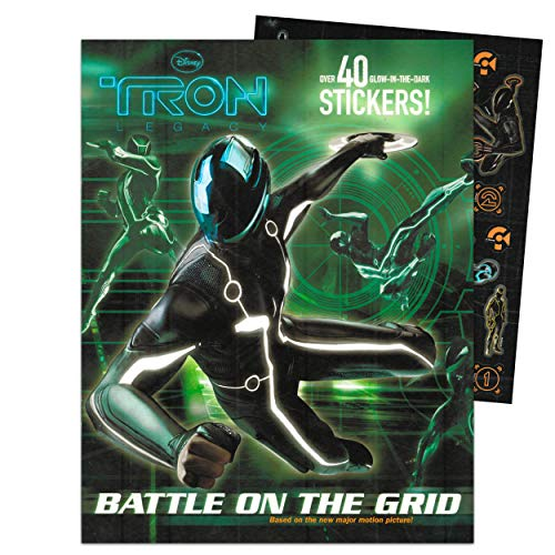Disney Tron Legacy Sticker Activity Book for Kids Toddlers ~ Tron Activity Book with Over 40 Resuable Glow in The Dark Stickers (Tron Party Favors)