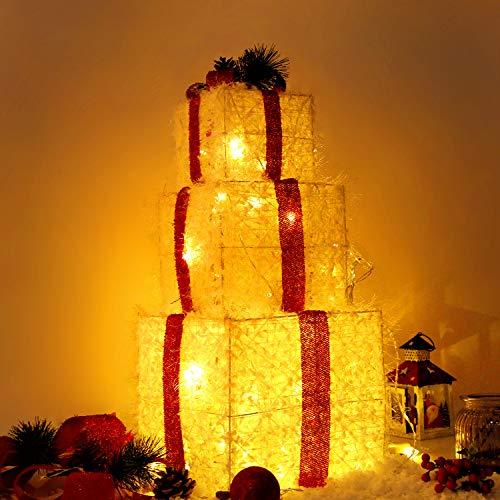 CCLIFE 3er Set LED Geschenkbox Weihnachten Weihnachtenbox Beleuchtete Lichterkette batteriebetrieb Weihnachtsdeko, Farbe:003 Weiss - Wolle