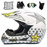 MRDEAR Kinder Crosshelm Set (5 Stück), Weiß/Rockstar, Motorradhelm Motocross Helm Schutzhelm mit...