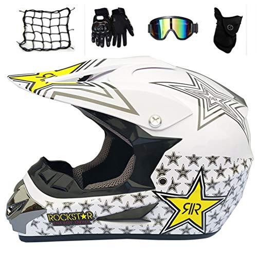 MRDEAR Cascos de Cross Set (5 Pcs), Blanco/Rockstar, Casco Motocross Niño con Orejeras Desmontables, Casco Descenso Integral Set de Protecciones Moto para MTB Quad MX Enduro Motocicleta,M