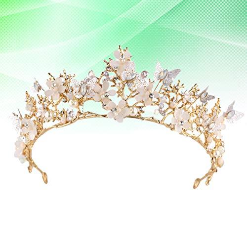 Lurrose 1 stks Bruids Tiara Kroon Bloem Vlinder Kristal Boor Haarband Hoofddeksels Haaraccessoires voor Pageant Feest Verjaardag Bruiloft