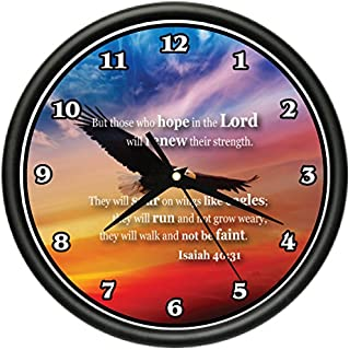 SignMission Isaiah 40:31 Wall Clock Bible Verse Hope in The Lord Renew Strenght Church Gift, Beagle 4031