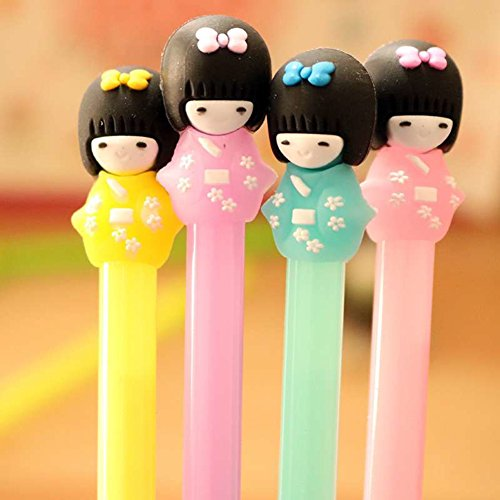WIN-MARKET Gel Pens Set Fashion Cute Candy Color Colorful Gel Ink Rollerball Pens Kawaii Lovely Cartoon Japanese Girls Doll Kimono Girl Doll Gel Ball Pens Office School Supply Stationery(5PCS)