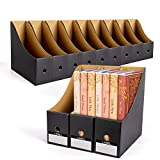 WECHARM Sturdy Cardboard Magazine File Holder Organizers - 12Pack Desk Organizer File Folder for Office,Folder Holder, Magazine Storage Box, Book Bins Black……