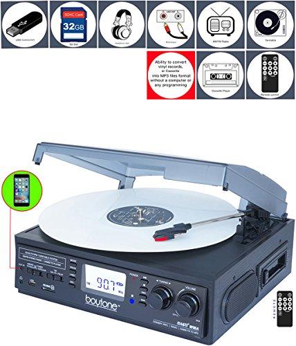 Boytone BT-19DJB-C 3-speed Turntable, 2 Built in Speakers Large Digital Display AM/FM, Cassette, USB/SD/AUX/MP3, Recorder & WMA Playback /Recorder & Headphone Jack + Remote Control