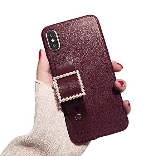 IPLUS - Funda para iPhone 8 Plus/7 Plus, funda de piel retro de lujo, TPU con soporte de anillo (rojo oscuro, iPhone 8 Plus/7 Plus)