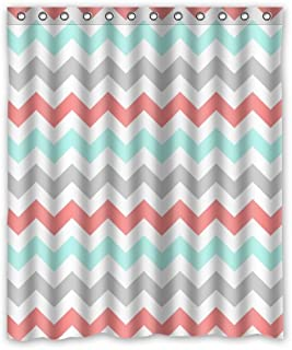 KXMDXA Coral,Light Green,Gray and White Chevron Zig Zag Pattern Waterproof Polyester Bath Shower Curtain Size 60x72 Inch