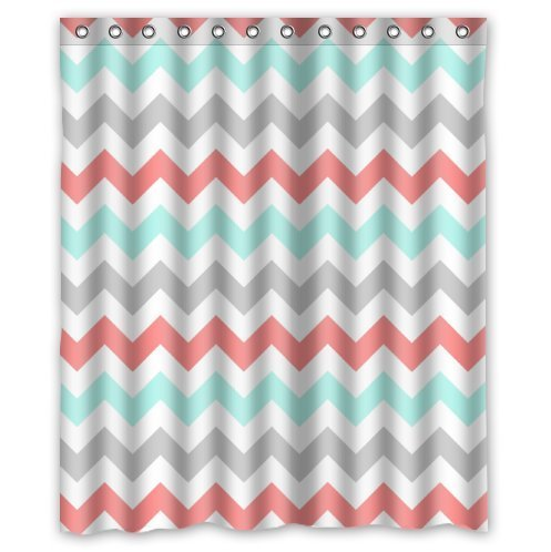 KXMDXA Coral,Light Green,Gray and White Chevron Zig Zag Pattern