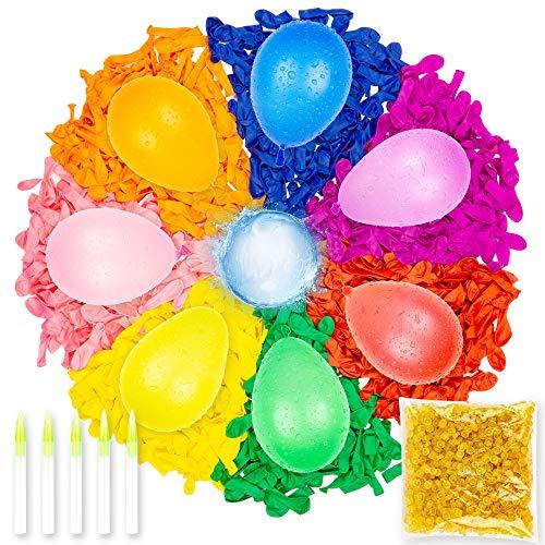 Belmalia 1000 Wasser-Bomben, Mega-Nachfüllpack für selbstschließende Wasser-Ballons ohne Knoten mit 5 Nachfüllröhrchen + 1000 Gummibänder