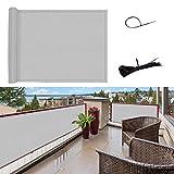 SUNNY GUARD Copertura per Balcone Giardino Schermo Privacy Resistente ai Raggi UV PES Telo frangivento Impermeabile con Fascette,90x500cm Grigio