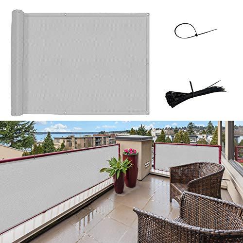 SUNNY GUARD Balkon Sichtschutz Balkonabdeckung PES UV-Schutz Windschutz Balkonverkleidung Wasserdicht wetterfester mit Kabelbinder,75x600cm Hellgrau