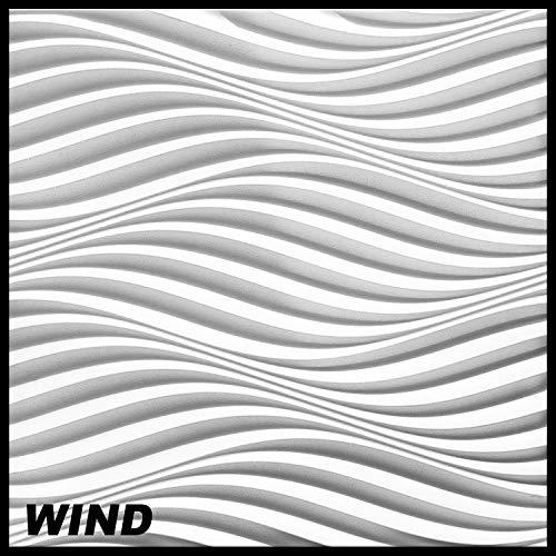 3D Wandpaneele Sparpaket - effektvolle Wandgestaltung mit detaillierten Polystyrolplatten, EPS deutliche Musterung, leicht und stabil - 6,48qm 60x60cm Wind