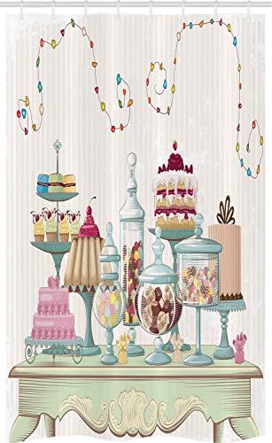 ABAKUHAUS Koekje Douchegordijn, Cakes glazen potten op een Lijst, voor Douchecabine Stoffen Badkamer Decoratie Set met Ophangringen, 120 x 180 cm, Veelkleurig