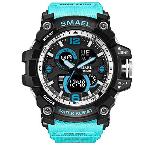 Lazzgirl SMAEL Sportuhr Herrenmarke Digitale Armbanduhr LED Elektronische Herrenuhren(Himmelblau,One Size)