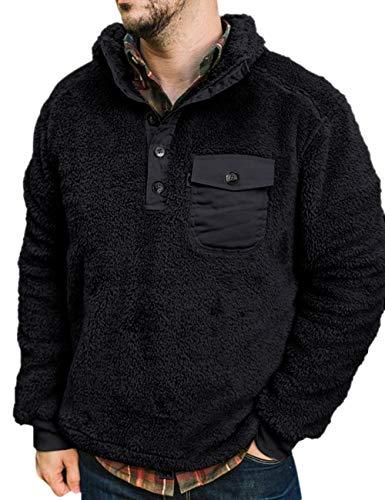 Men's Casual Sherpa Fleece Winter Coat Pile Sweater Long Sleeve Warm Pullover Outwear wiht Pocket Black XL